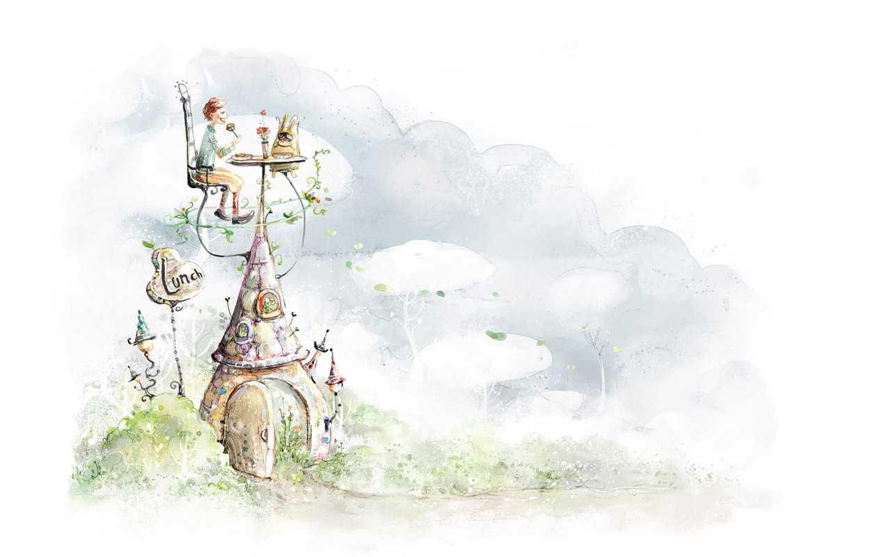 手绘淡彩风格童话